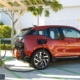September 28, 2013.  The BMW i3 recharges at a DC Fast Charger.  Fashion Valley Mall,  San Diego, CA.