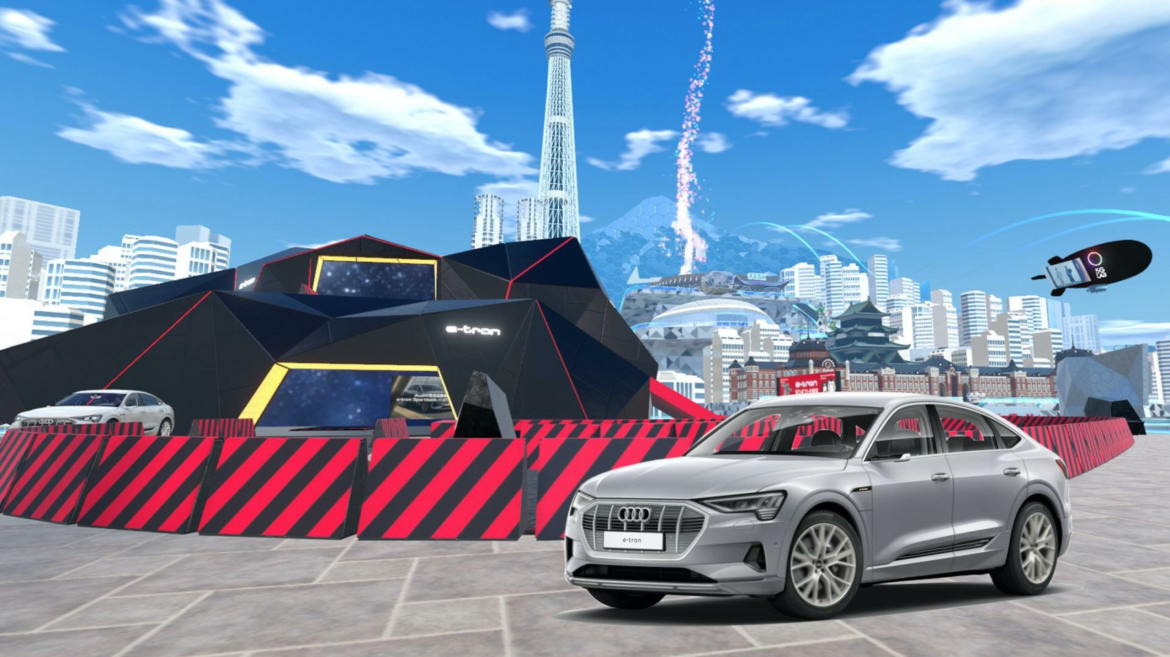 """Audi is the first car manufacturer to use """"Virtual Market 4,"""" one of the world's largest virtual reality events, as a presentation and experience platform for the all-new Audi e-tron Sportback"""