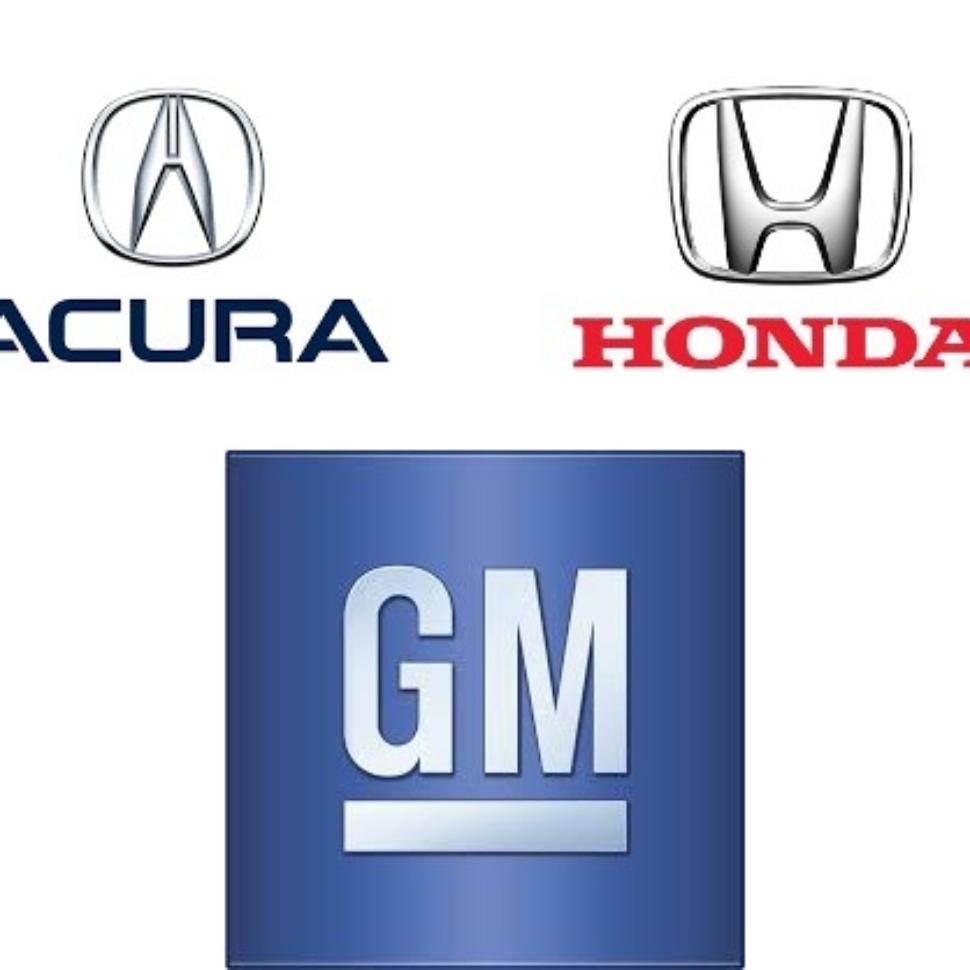 Acura, Honda, GM logos