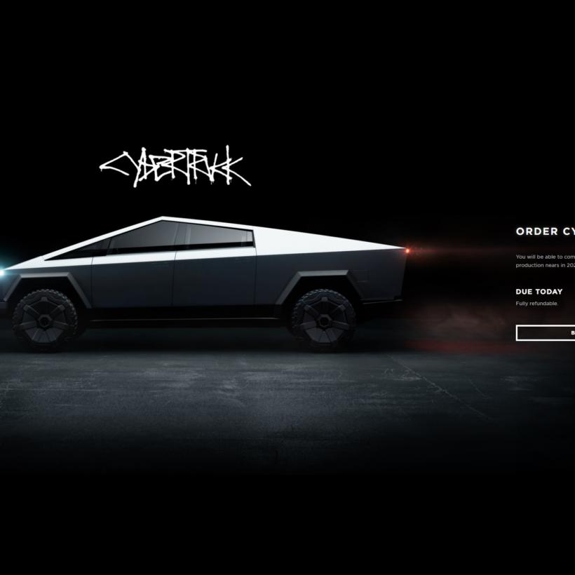 Tesla Cybertruck page